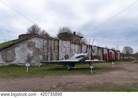Kronstad, Russia - May 10, 2021: Model Of The Yak-1 Aircraft On The Fortifications Of The Reef Fort