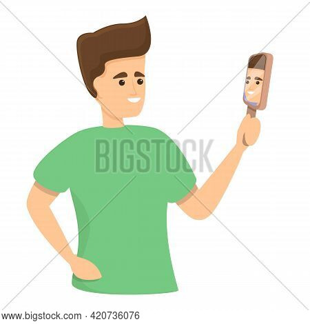 Boy Mirror Narcissism Icon. Cartoon Of Boy Mirror Narcissism Vector Icon For Web Design Isolated On