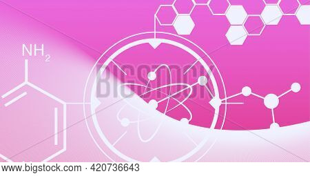 Composition of white chemical compounds structures on pink background. global research, medicine and science concept digitally generated image.