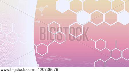 Composition of white chemical compounds structures on white and orange background. global research, medicine and science concept digitally generated image.