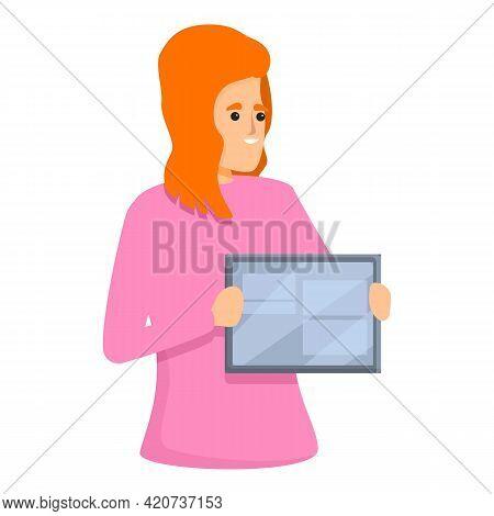 Tablet Presentation Colleague Icon. Cartoon Of Tablet Presentation Colleague Vector Icon For Web Des