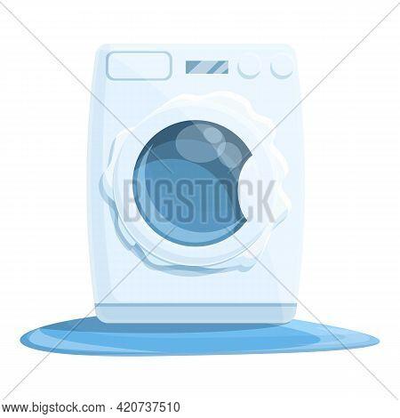 Full Broken Washing Machine Icon. Cartoon Of Full Broken Washing Machine Vector Icon For Web Design