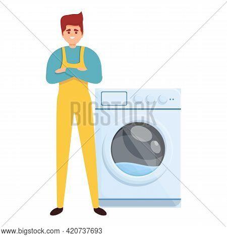Washing Machine Repair Man Icon. Cartoon Of Washing Machine Repair Man Vector Icon For Web Design Is