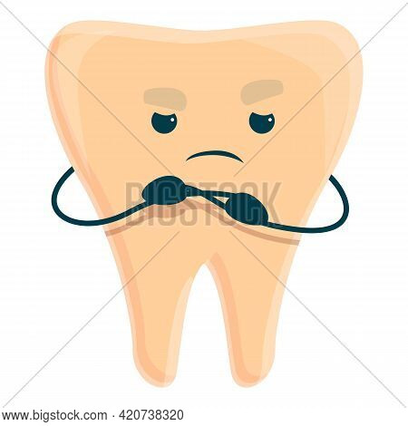 Sad Tooth Caries Icon. Cartoon Of Sad Tooth Caries Vector Icon For Web Design Isolated On White Back