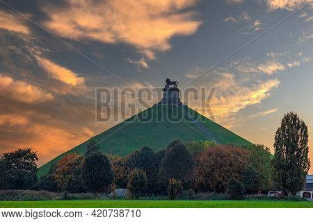 Famous Lion's Mound (butte Du Lion), A Conical Artificial Hill Located In The Municipality Of Braine