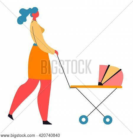 Woman Walking With Pram, Mom With Kid In Buggy