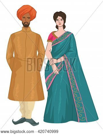 Indian Couple Man And Woman In Traditional Clothes