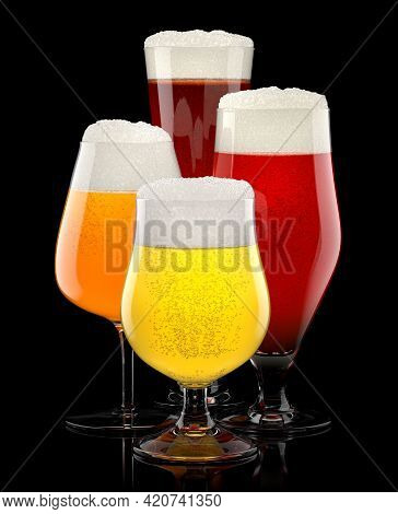 Set Of Fresh Different Beer Glasses With Bubble Froth Isolated On A Black Background. 3d Rendering C