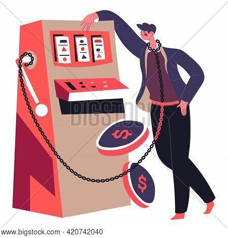 Game Addition, Man Gambling And Losing Money