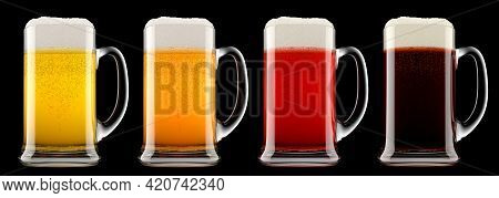 Set Of Glasses Of Fresh Beer With Bubble Froth Isolated On A Black Background. 3d Rendering Concept
