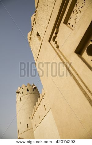 Wall of Al Jahli Fort, low angle view