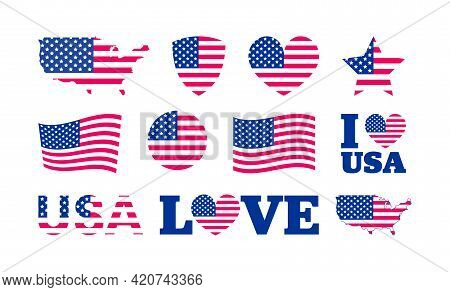 United States Of America Flag Icon Set. Usa Flag Colors Heart, Star, Circle, Shield Shapes Collectio
