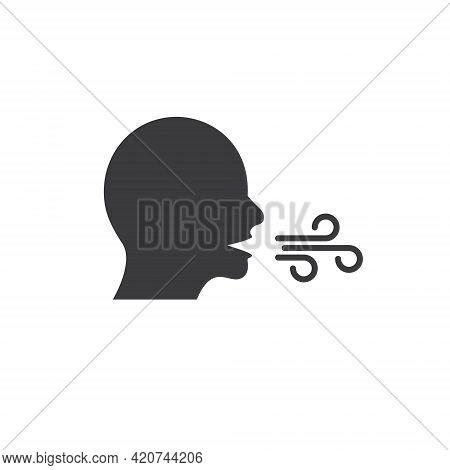 Breath Line Vector Icon. Mouth Cough Health Flue Symbol