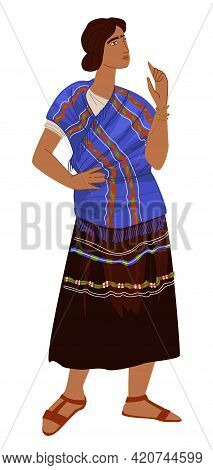 Maya Culture And Traditions, Woman In Dress Vector