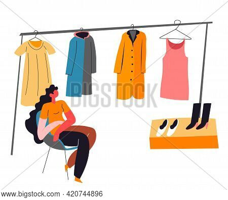 Woman Selling Vintage Clothes, Market Second Hand