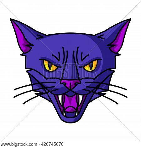 Evil Magic Witch Cat Muzzle. Mystic, Alchemy, Spirituality, Tattoo Art.