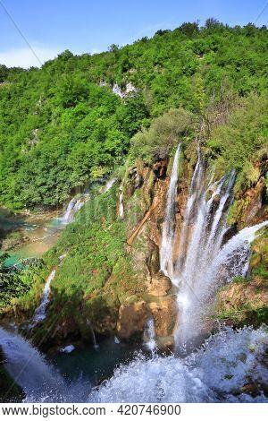 Plitvice Lakes National Park. Croatia Waterfalls Landscape.