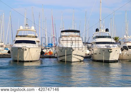 Split, Croatia - July 20, 2019: Yachts And Sailboats Moored At The Marina In Split. Croatia Had 18.4
