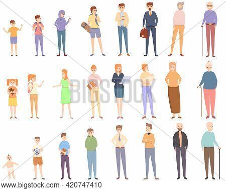 Generation Icons Set. Cartoon Set Of Generation Vector Icons For Web Design