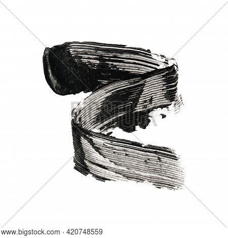 Texture Of Black Mascara Brush Strokes Isolated On White Background