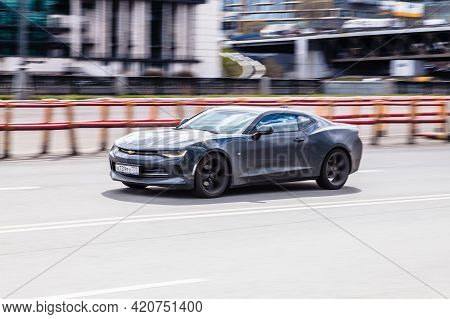 Chevrolet Camaro Rs Sixth Generation In The City Street. Moscow , Russia - May 2021