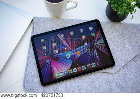Alanya, Turkey - May 11, 2021: Ipad Air Ios 14 With Widget On The Home Screen. Ipad Was Created And