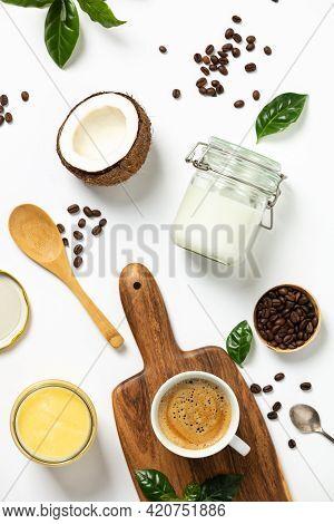 Ingredients For Paleo Style And Ketogenic Bulletproof Coffee, , Paleo, Keto, Ketogenic Drink Breakfa
