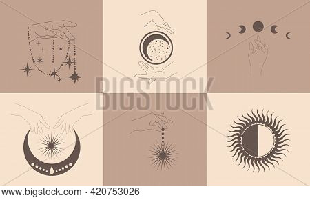 A Set Of Templates With Esoteric Cosmic Symbols. Silhouette Of Hands, Lunar Cycles, Sun, Stars, Spac