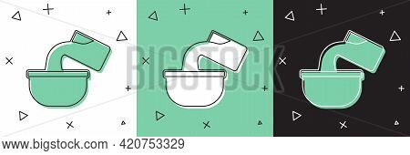 Set Saucepan Icon Isolated On White And Green, Black Background. Cooking Pot. Boil Or Stew Food Symb