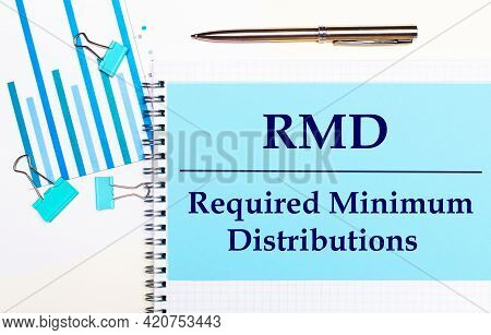 On A Light Background - Light Blue Diagrams, Paper Clips And A Sheet Of Paper With The Text Rmd Requ