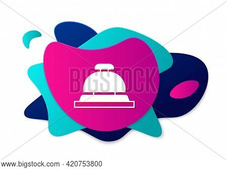 Color Hotel Service Bell Icon Isolated On White Background. Reception Bell. Abstract Banner With Liq