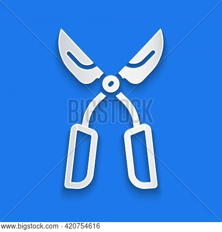 Paper Cut Gardening Handmade Scissors For Trimming Icon Isolated On Blue Background. Pruning Shears