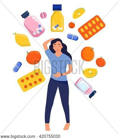 Multivitamin Complex And Bio Supplement For The Immune System And Beauty. Woman Makes Choice Between