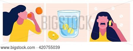 Ascorbic Acid Or Vitamin C Set. Effervescent Tablet Dissolves In A Glass Of Water. Lemon Slice Is A