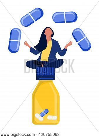 Woman Sitting And Meditating On Big Pill Jar.vitamin Complex And Healthcare.keep Calm And Drink Seda