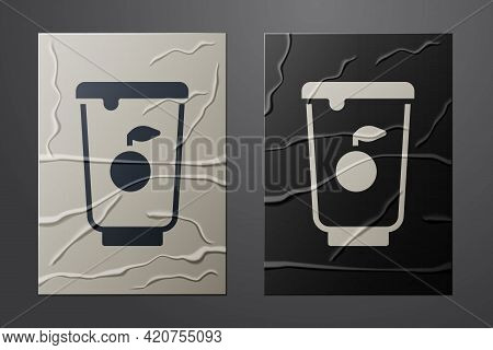 White Yogurt Container Icon Isolated On Crumpled Paper Background. Yogurt In Plastic Cup. Paper Art