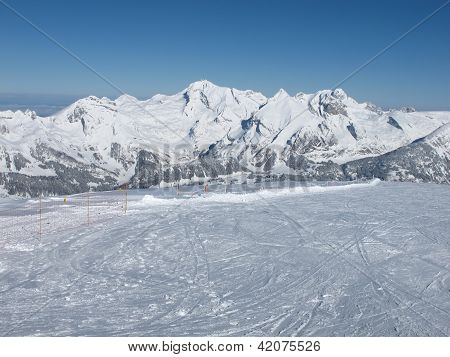 Ski and Mt Saentis. View from Chaeserrugg, Toggenburg. poster
