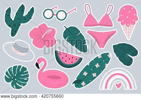 Summer Sticker Set With Cactus, Swimwear, Surfboard, Rainbow, Tropical Leaves And Flowers, Ice Cream