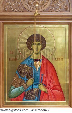 An Icon In The Orthodox Church. Hanty-mansiysk, Russia - 03 May, 2021.