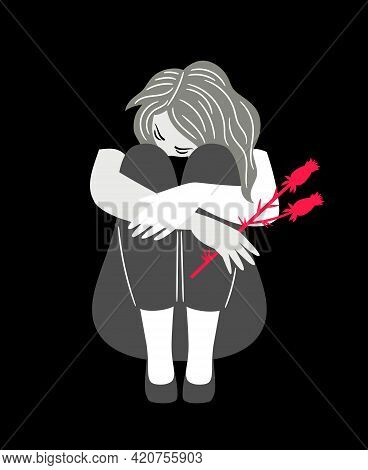 Girl With Sad Mood. Cartoon Woman In Sorrow, Concept Of Anxious And Depression, Vector Illustration