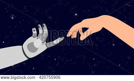 Android Touch Human Hand. Arm Touching In Universe, Collaboration Or Cooperation Robots And People V