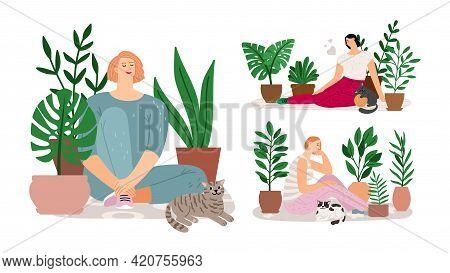House Garden. Girls Relax, Cats Plants In Pot And Women. Home Planting, Urban Jungle Or Scandinavian