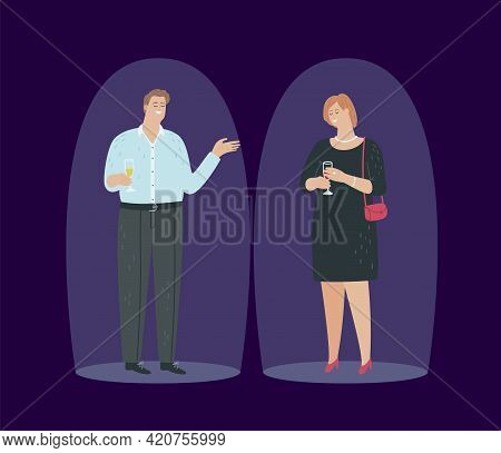 Save Personal Boundaries. Ethics Of Business Communication, People At Party Communicate At Distance.