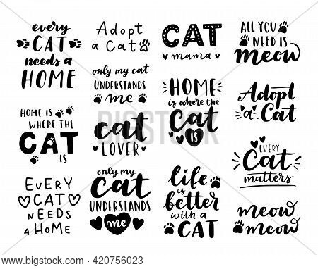 Cat Adoption Phrase Black And White Poster. Inspirational Quotes About Domestical Pets Adoption. Han