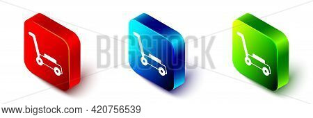 Isometric Lawn Mower Icon Isolated On White Background. Lawn Mower Cutting Grass. Red, Blue And Gree