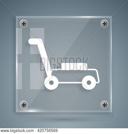 White Lawn Mower Icon Isolated On Grey Background. Lawn Mower Cutting Grass. Square Glass Panels. Ve