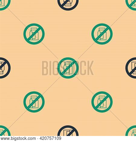 Green And Black No Pack Of Milk Icon Isolated Green And Black Background. Not Allow Milk. Allergy Co