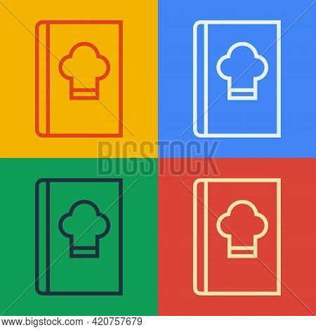 Pop Art Line Cookbook Icon Isolated On Color Background. Cooking Book Icon. Recipe Book. Fork And Kn
