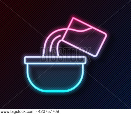 Glowing Neon Line Saucepan Icon Isolated On Black Background. Cooking Pot. Boil Or Stew Food Symbol.