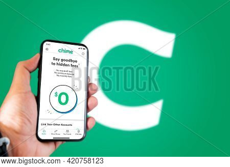 San Francisco, Ca, Usa, May 2021: A Hand Holding A Phone With The Chime App On The Screen. Chime Is